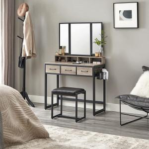 SEG206 - Set Masa toaleta, 90 cm, cosmetica machiaj cu oglinda tripla, masuta vanity - Grej stil industrial