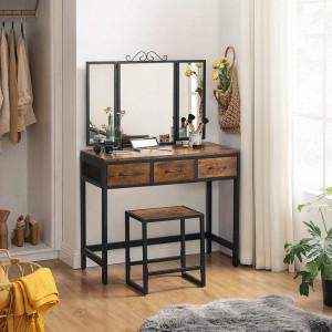 SEM223 - Set Masa toaleta, 90 cm, cosmetica machiaj cu oglinda tripla, masuta vanity - Maro stil industrial