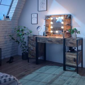 SEM229 - Set Masa toaleta, 140 cm, cosmetica machiaj oglinda cu sau fara LED, masuta vanity, cu sau fara bancuta - Maro stil industrial