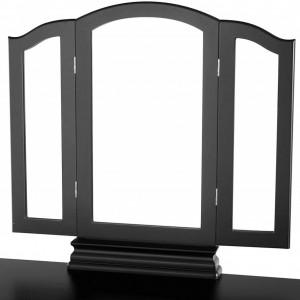 SEN124 - Set Masa toaleta cosmetica 85 cm machiaj masuta vanity, oglinda make-up, cosmetica cu scaun tapitat - Negru