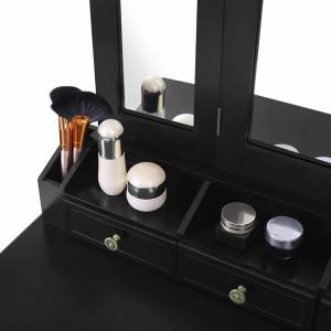 SEN231- Set Masa Neagra toaleta cosmetica machiaj oglinda masuta, scaunel taburet tapitat
