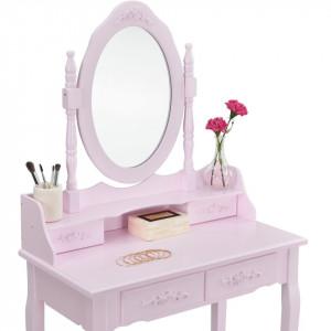 SER103 - Set Masa roz toaleta cosmetica machiaj oglinda masuta vanity