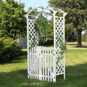 PEA2 - Pergola trandafiri cu portita lemn gradina, terasa - Alba