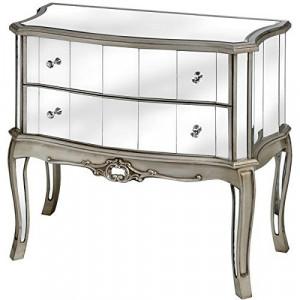 COOG102 - Comoda oglinda, dulap cu 2 sertare, dormitor, living - Argintiu