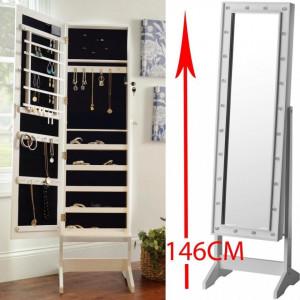 OGA116 - Oglinda caseta de bijuterii cu lumini, dulap, dulapior perete dormitor, dressing - Alb