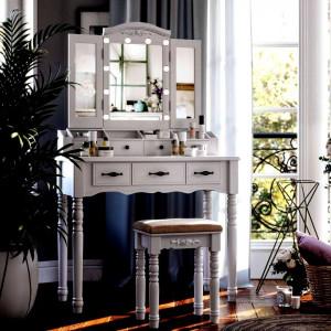 SEA257 - Set Masa Alba toaleta cosmetica machiaj oglinda masuta, scaunel taburet tapitat