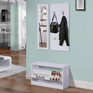 CUI211 - Cuier Alb, 80 cm, 4 agatatori haine, chei hol, depozitare pantofi, pantofar si oglinda