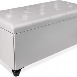 BAN112 - Bancuta 76.5 cm, bancheta, banca cu lada plianta living, dormitor, hol, - Alb, Negru, Gri