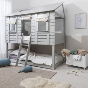 PAAC105 - Pat casuta pentru 2 persoane, dormitor - 90 x 200 cm - Alb, Gri
