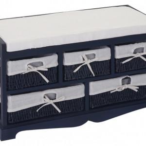 BAAL201 - Bancheta, bancuta, hol, dormitor banca lemn vopsit 5 cosuri - Albastru