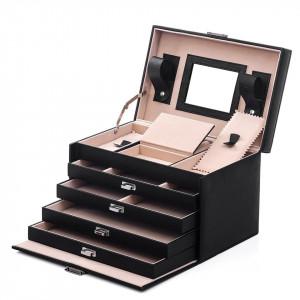 CJN204 - Cutie cutiuta bijuterii cu oglinda, depozitare ceasuri, imitatie piele - Negru