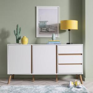 COA135 - Comoda alba, 150 cm, dulap cu 3 sertare pentru dormitor, living - Marsilia