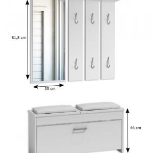 CUI505 - Cuier 100 cm - 6 agatatori haine, hol, pantofar cu oglinda, Alb/Maro/Crem