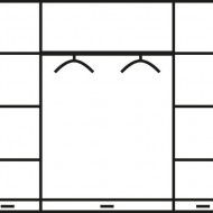 DUM201 - Dulap, sifonier cu 4 usi, bara umerase, rafturi, sertare si oglinda, dormitor - Maro