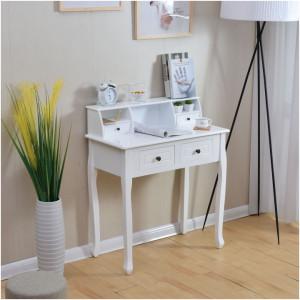 MAA602 - Masa toaleta, 80 cm, consola cosmetica machiaj masuta vanity make-up cu raft pentru hol - Alb