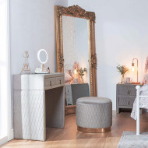MAG102 - Masa toaleta tapitata, 80 cm, cosmetica machiaj - Gri