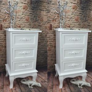 NOA106 - Set 2 Noptiere albe cu 3 sertare si detaliu floral