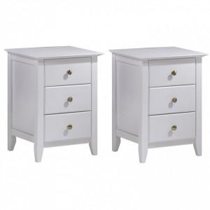 NOA602 - Set 2 Noptiere albe cu 3 sertare pentru dormitor