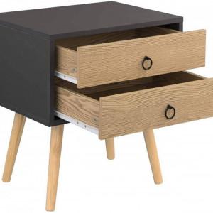 NOM208 - Set 2 Noptiere maro, 46 cm, cu 2 sertare pentru dormitor