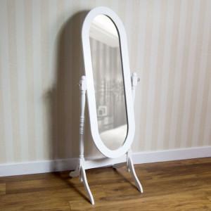 OGA122 - Oglinda alba ovala dormitor cu picior