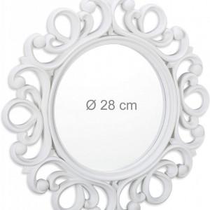 OGA208 - Oglinda ornamentala 50 cm, pentru perete, dormitor, living, baie - Alba