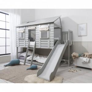 PAAC108 - Pat casuta si Tobogan pentru 2 persoane, dormitor - 90 x 200 cm - Gri sau Maro