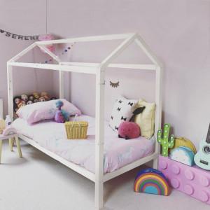 PAAC4 - Pat casuta pentru 1 persoana, dormitor copii - 90 x 200 cm - Alb