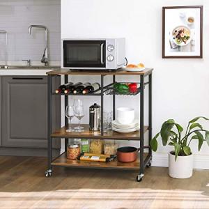 RAI1 - Rafturi 80 cm, cu roti pentru birou, bucatarie, stil industrial - Maro