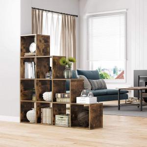 RAI221 - Rafturi 129 cm, pentru living, birou, hol, stil industrial - Maro