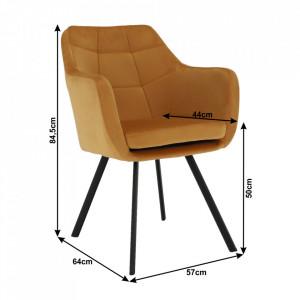 SCN601 - Fotoliu, Scaunel tapitat, scaun masuta, masa toaleta, machiaj - Mustar