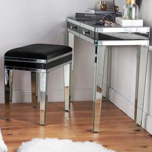 SCOG102 - Scaun oglinda, taburet masuta masa toaleta tapitat - Argintiu