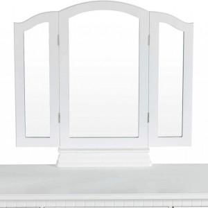 SEA161 - Set Masa toaleta cosmetica 85 cm machiaj masuta vanity, oglinda make-up, cosmetica cu scaun tapitat - Alb