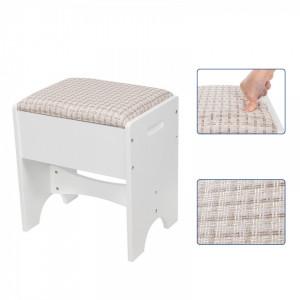 SEA225 - Set Masa alba toaleta cosmetica machiaj oglinda masuta, scaunel taburet tapitat makeup