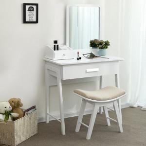 SEA232 - Set Masa alba toaleta cosmetica machiaj oglinda masuta makeup, scaunel taburet tapitat