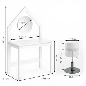 SEA266 - Set Masa alba toaleta 96 cm cosmetica machiaj, oglinda cu LED la alegere, masuta vanity