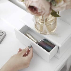 SEA343 - Set Masa toaleta cosmetica 80 cm machiaj masuta vanity, oglinda make-up cu LED, cosmetica cu scaun tapitat - Alb
