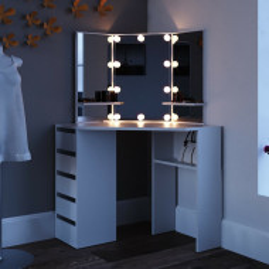 SEA353 - Set Masa alba toaleta cosmetica machiaj oglinda cu LED, masuta vanity pe colt cu incarcare Qi