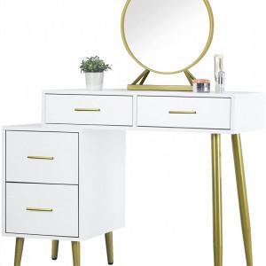 SEA358 - Set Masa toaleta, 98 cm, cosmetica machiaj cu oglinda, masuta vanity - Alb-Auriu