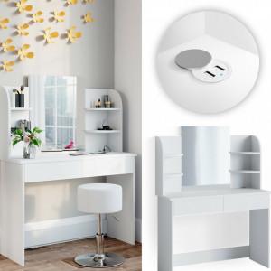 SEA360 - Set Masa alba toaleta cosmetica machiaj oglinda cu LED, masuta vanity cu USB