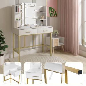 SEA362 - Set Masa toaleta, 90 cm, cosmetica machiaj, oglinda cu LED, masuta vanity - Alb-Auriu