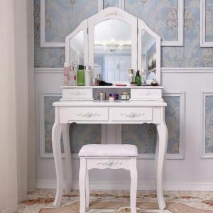 SEA513 - Set Masa alba toaleta, 75 cm, cosmetica machiaj oglinda, masuta vanity, scaunel, taburet tapitat