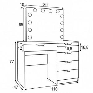 SEA514 - Set Masa toaleta, 110 cm, cosmetica machiaj, masuta vanity, oglinda cu LED-uri - Alb, Maro sau Gri