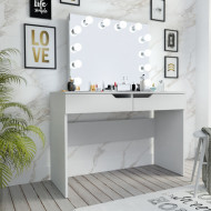 SEA515 - Set Masa toaleta, 110 cm, cosmetica machiaj, masuta vanity, oglinda cu LED-uri - Alb, Maro sau Gri