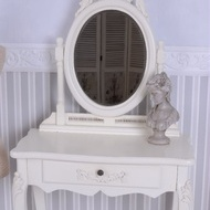SEA56 - Set Masa alb-crem toaleta cosmetica machiaj oglinda masuta