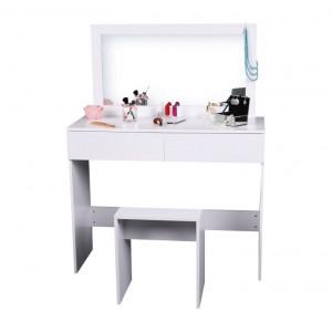 SEA604 - Set Masa toaleta, 100 cm, consola cosmetica machiaj masuta vanity make-up cu oglinda si scaun - Alb