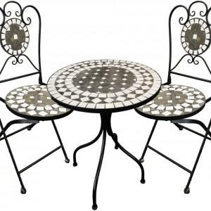 SEGG202 - Set Masa si scaune pliante Mozaic gradina, terasa, balcon - Gri