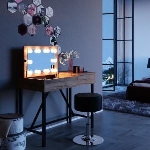 SEM215 - Set Masa toaleta maro cosmetica machiaj, 98 cm, oglinda masuta vanity, oglinda cu LED-uri la alegere