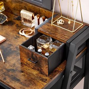 SEM230 - Set Masa toaleta, 90 cm, cosmetica machiaj cu oglinda cu LED, masuta vanity cu scaun tapitat - Maro stil industrial