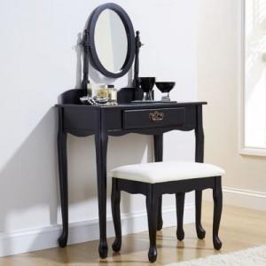 SEN102 - Set Masa neagra toaleta cosmetica machiaj oglinda masuta