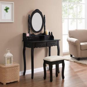 SEN109 - Set Masa toaleta, 75 cm, cosmetica machiaj oglinda masuta - Neagra